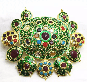 High Quality Jadau Pendant With Meenakari Work Multi Color 5' Inches 1 PC