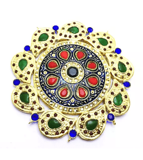 High Quality Jadau Pendant With Meenakari Work Multi Color 4.5' Inches 1 PC