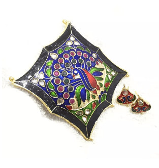 High Quality Jadau Pendant With Meenakari Work Multi Color 4.5' Inches 1 Set (Pendant With Earring)