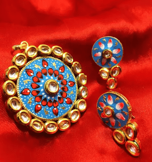 High Quality Kundan Pendant With Meenakari Work Sky Blue Color 2.5' Inches 1 Set (Pendant With Earring)