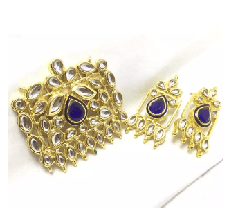 High Quality Kundan Pendant With Meenakari Work Blue Color 2.5' Inches 1 Set (Pendant With Earring)