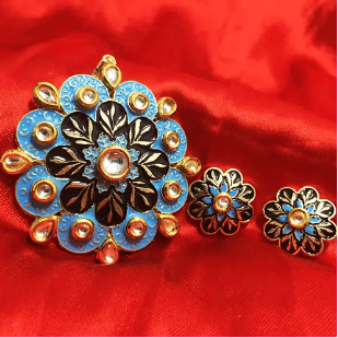 High Quality Kundan Pendant With Meenakari Work Blue With Black Color 3' Inches 1 Set (Pendant With Earring)