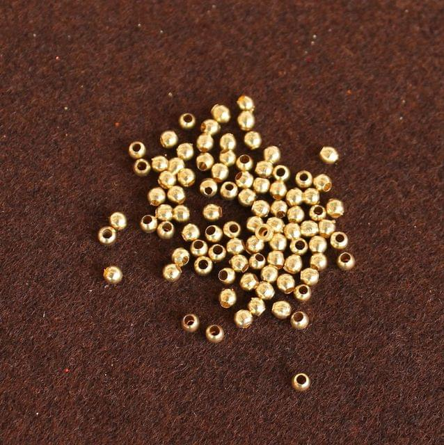 500 Pcs Solid Brass Round Beads Golden 2.5mm