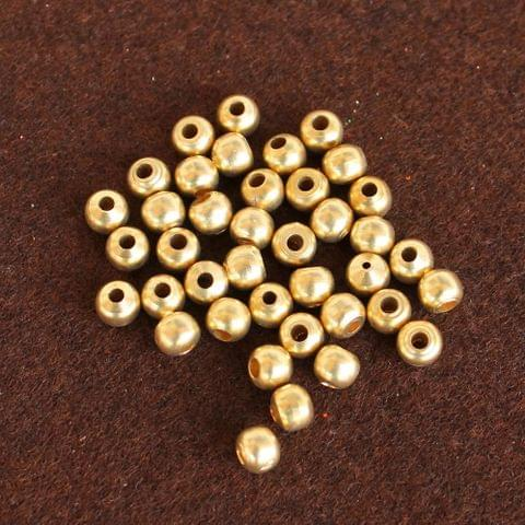 250 Pcs Solid Brass Round Beads Golden 6mm