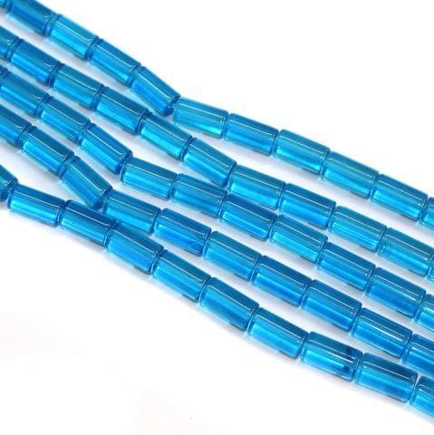5 Strings Glass Tube Beads 12x8mm Sky Blue