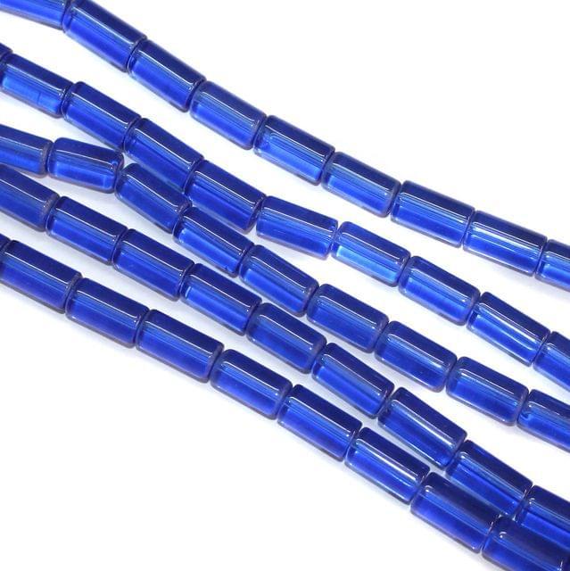 5 Strings Glass Tube Beads 12x8mm Blue
