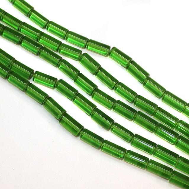 5 Strings Glass Tube Beads 12x8mm Green