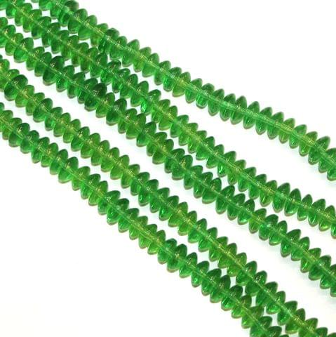 5 Strings Glass Beads Donut Shape Green