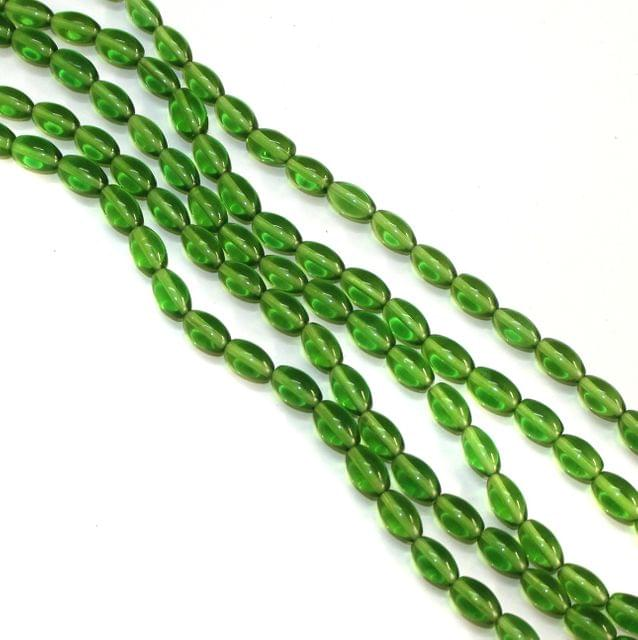 5 Strings Glass Oval Beads Green