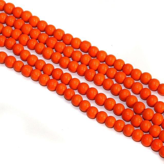 5 Strings Glass Round Beads 8mm Orange