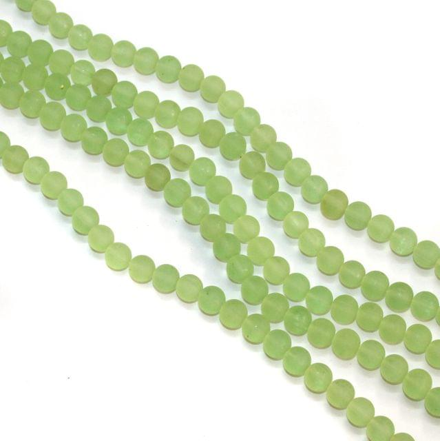 5 Strings Glass Round Beads 8mm Parrot Green