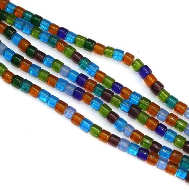 5 Strings Glass Tyre Beads 8x8mm Multicolor