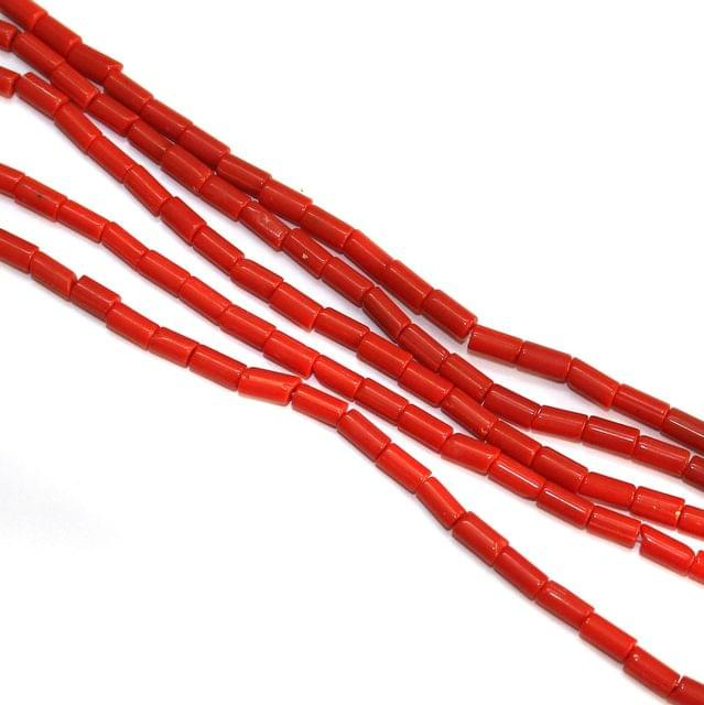 5 Strings Glass Tube 10x4mm Red