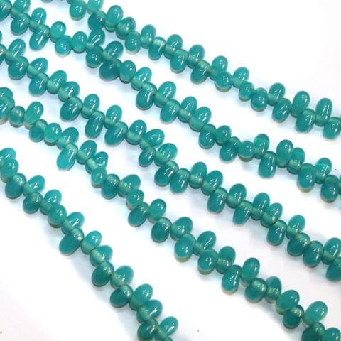 5 Strings Glass Oval Side Hole Latkan Beads Teal