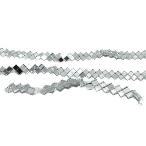 50 Gms Glass Mirror Beads Zig Zag Strips 6mm