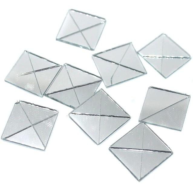 50 Gms Glass Mirror Beads Triangular Shaped, Size 12x24 mm