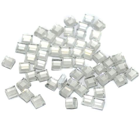 50 Gms Glass Mirror Beads Cube Shape White, Size 4mm