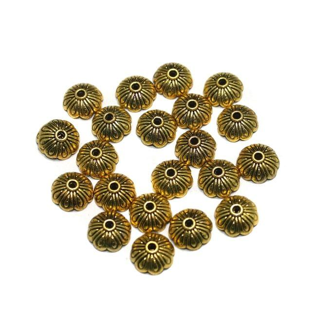 200 Pcs German Silver Beads Caps Golden 10mm