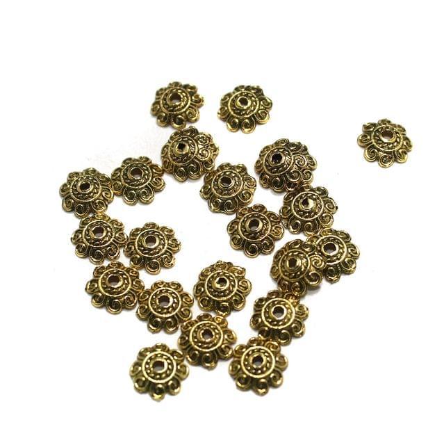 500 Pcs German Silver Beads Caps Golden 8mm