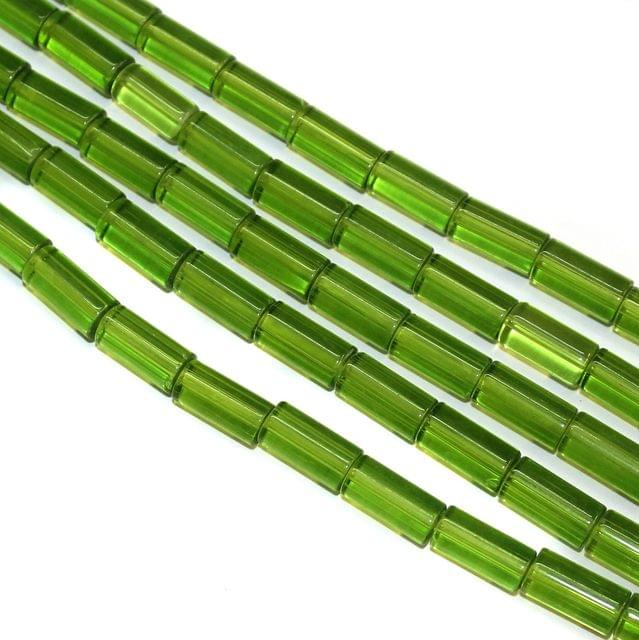 5 Strings Glass Tube Beads 16x8mm Parrot Green
