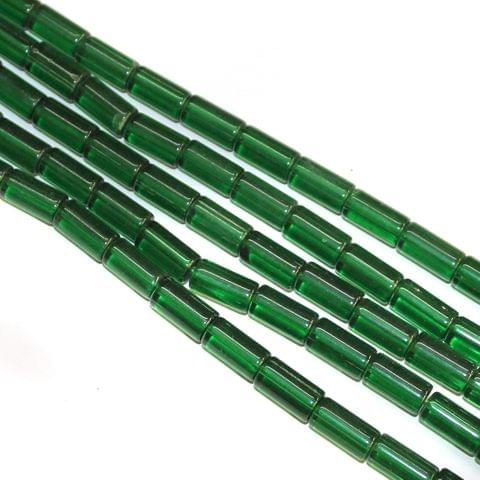 5 Strings Glass Tube Beads 16x8mm Green