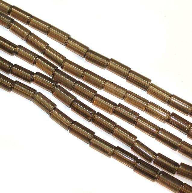 5 Strings Glass Tube Beads 16x8mm Grey