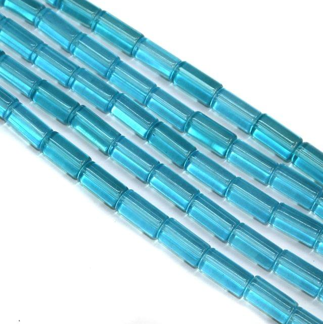 5 Strings Glass Tube Beads 16x8mm Turquoise