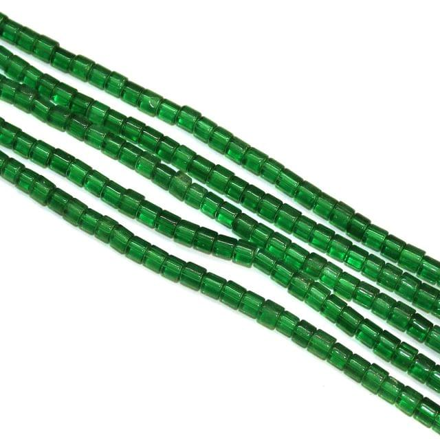 5 Strings Glass Tyre Beads Green 4x4mm