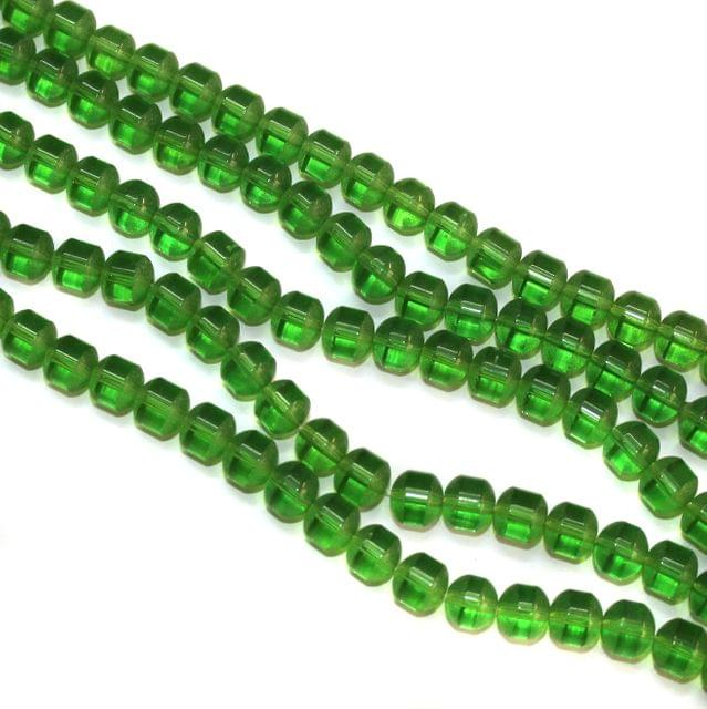 5 Strings Glass Round Half Matte Beads 8mm Green