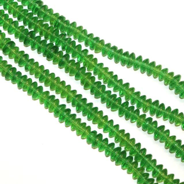 5 Strings Glass Beads Donut Shape Green 8x4mm