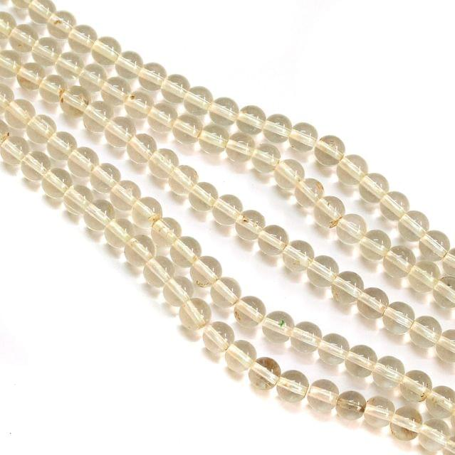 5 Strings Glass Round Beads 8mm White