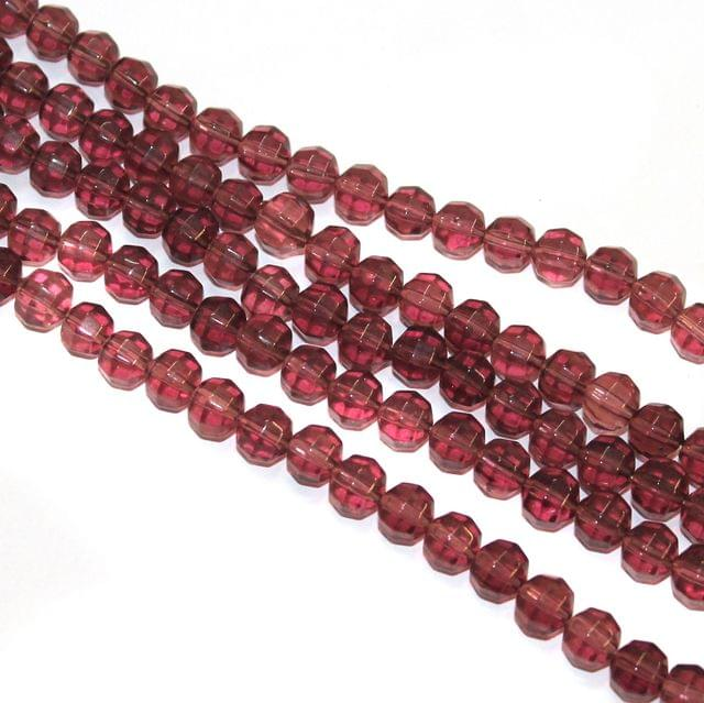 5 Strings Faceted Crystal Round Beads Purple 8mm