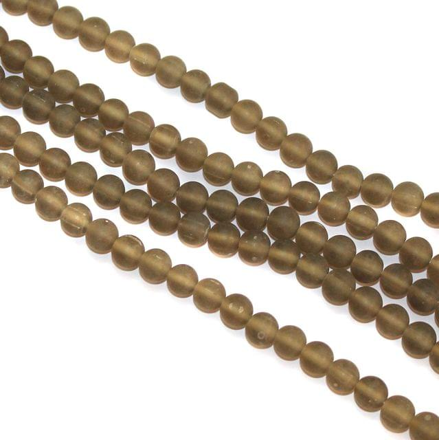 5 Strings Glass Round Beads 8mm Grey