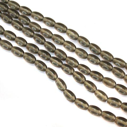5 Strings Glass Oval Beads Grey 12x8mm