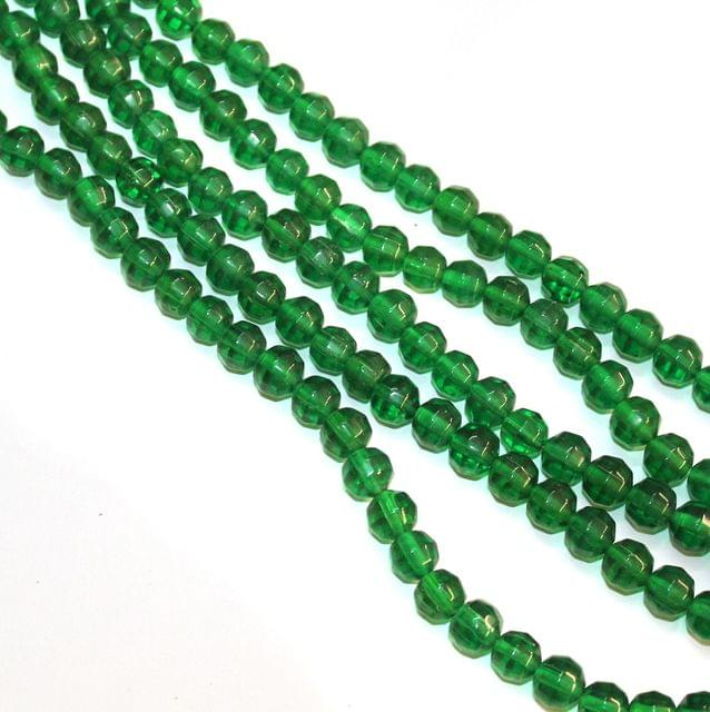 5 Strings Faceted Crystal Round Beads Green 8mm