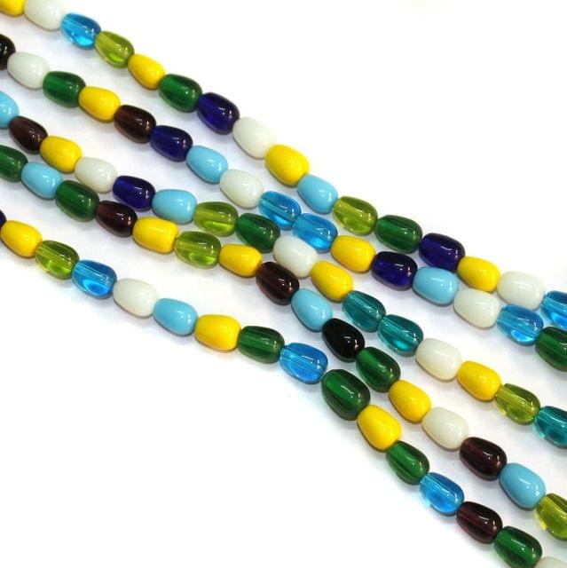 5 Strings Glass Oval Beads 8x6mm Multicolor