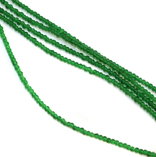 5 Strings Glass Round Beads 2.5mm Green