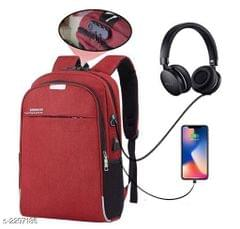 Business Laptop Water Resistant Anti-Theft Backpack with USB Charging Port and Lock 15.6 Inch Computer Backpacks for unisex (red)
