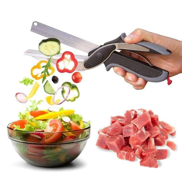 Clever Cutter - 2 in 1 Stainless Steel Multi-Function Kitchen Vegetable Scissor