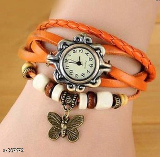 Elegant Woman's Watch Butterfly (Bright Orange)