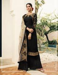 Ruhame Pretty elegant Black color Straight Cut Plazzo Style Suit