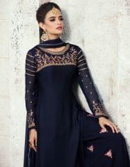 Ruhame Graceful Navy Blue colour Semi-stitched Plazzo Style Salwar Kameez
