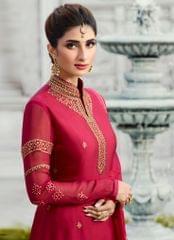 Ruhame Alluring Rani colour Semi-stitched Plazzo Style Salwar Kameez