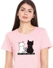 PopMode Pink Cat Printed Round Neck Crop T-Shirt