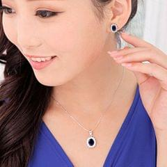 Popmode Blue Regal Sapphire Studded Silver Plated Stud Earrings Pendant and Chain Set for Women
