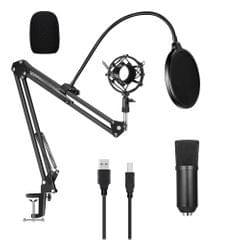 USB 192kHZ/24bit Podcast Recording Microphone Kit - black