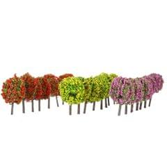 Mixed 3 Colors Ball-shaped Flower Trees Model Train Layout