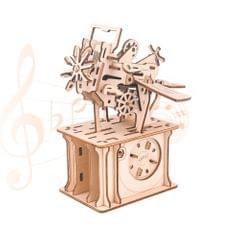 3D Wooden Puzzle Music Box with Photo Frame Slot Spacecraft