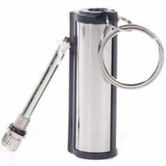 Cylindrical Stainless Steel Key Chain Lighter Survival