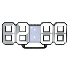 Multifunctional Large LED Digital Wall Clock 12H/24H Time - Black Shell & White Light